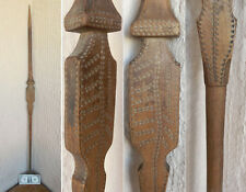 "۞ 47"" Antique Primitive ORNATE Hand Carved wooden fretwork Distaff Spindle Wool"