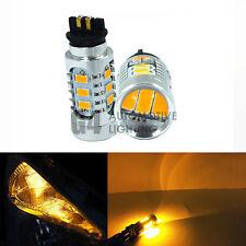 2x PW24W PWY24W CANBUS LED Bulbs 5730 SMD Audi BMW VW DRL Daytime Light, Amber