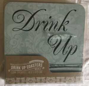 New Drink Up Coasters Cheers!; Bottoms Up!; Drink Up! Gift Boxed