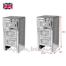 2x Mirrored Bedside Tables Pair of Nightstands Crystal 3 Drawers Cabinets UK