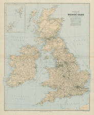 Railway map of the British Isles. England Ireland Scotland Wales. STANFORD 1904