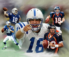 Peyton Manning : giclee print on canvas poster painting for autograph  B-2130