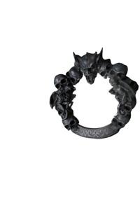 "Halloween Mirror Black Gothic Gargoyles Skulls Surrounding Mirror 16"" Diameter"