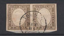 FRANCOBOLLI 1861 SARDEGNA COPPIA 10 C. GRIGIO OLIVASTRO SCURO FOLIGNO Z/196