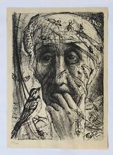 1955 René-Jean CLOT Lithographie originale en noir 1/200 Les Remords Enfer