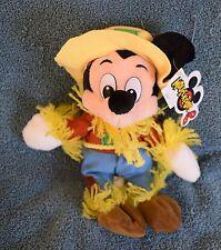 """Disney SCARECROW MICKEY MOUSE 7"""" Beanie Mini Bean Bag Plush - NWT"""