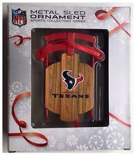 Houston Texans NFL Christmas Tree Wood Effect Metal Sledge Decoration