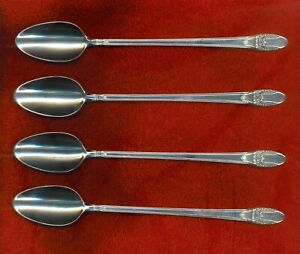 1847 Rogers Bros 1937 FIRST LOVE 4 Ice Tea Beverage Spoons Excellent No Monogrm
