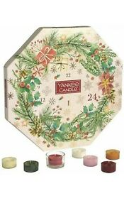 YANKEE CANDLE TEALIGHT CHRISTMAS ADVENT WREATH CALENDAR CANDLES & HOLDER
