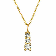 0.60 Carat Natural Diamond Necklace Pendant 14K Yellow Gold G SI 18 inches chain