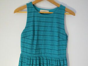ANN TAYLOR LOFT TEAL EYELET WOMEN'S DRESS Lined Fit Flared Lined Turquoise