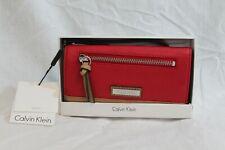 Calviin Klein Lipstick Red Wristlet Wallet Tan Leather Purse MSRP $108 NEW