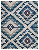 160 cm x 120 cm Large Home Kishi Rug Blue Woven Geometric Modern Luxury Carpet