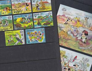 Grenada 1988 Used FU Full Set Minisheets Disney Mickey Mouse Australia Sydpex
