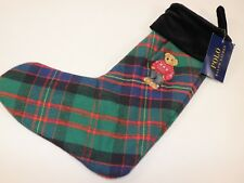 NWT RALPH LAUREN HOME Classic Plaid Embroidered BEAR Woven Christmas Stocking