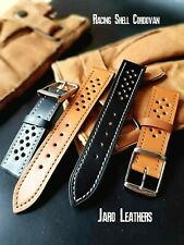 Luxury Shell Cordovan leather watch strap, hand made watch band Racing strap