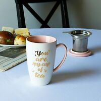 [NEW]Porcelain Tea Mug with Infuser and Lid - You Are My Cup of Tea, 15 OZ, Pink