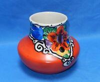 Vintage Art Deco Era Czechoslovakian Hand Painted Pottery Vase