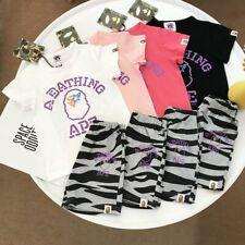 1 Set Kids Boy Girls Dotted Line Words Printed Shirt+PANTS SUMMER SHIRT TOP TEE