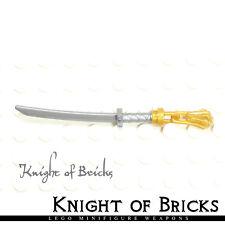 Lego Minifigure FLAT SILVER Weapon Sword Katana Blade Ninja Samurai GOLD Tassel