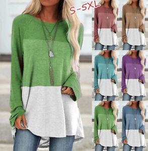Womens Sweatshirt Long Sleeve Tee Loose Patchwork Blouse Ladies Plus Size Tops