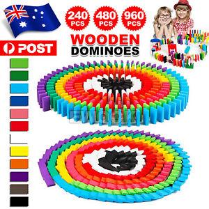 240/480/960 PCS Wooden Dominoes Block Tiles Bright Tumbling Knock Down Kids Toys