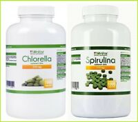 Spirulina & Chlorella 100% pure Superfood detox 800 or 2000 tablets 250mg