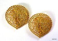 Kenneth Jay Lane Satin Gold Filigree Clip Earrings