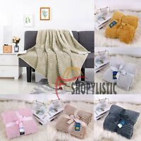 Multicolour Chunky Rib Sofa Bed Throws Soft Warm Blanket Double Size 150 x 200cm