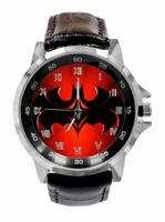 Batman Image Watch Faux Black Leather Band Red Face