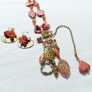 Necklace And Earrings For Pierced Ears Set Stone Shell Coral Pink Y86
