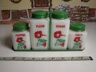 Vintage Milk Glass  Spice Shakers Green Metal Caddy Rack Flowers TIPP USA