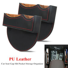 2x PU Leather Catcher Box Car Seat Gap Slit Pocket Storage Organizer Case Black