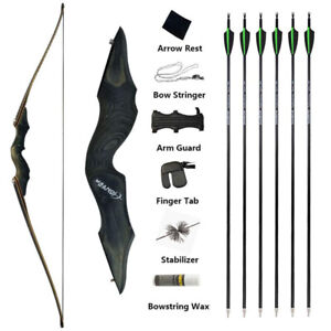 "60"" Takedown Longbow 25-60lbs Recurve Bow Wooden Arrows Set Archery Hunting"