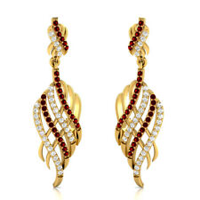 1.20 Carat Red Ruby and Sapphire Drop Dangle Earrings in 14k Yellow Gold Silver