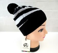 PAUL SMITH Womens Merino Wool Bobble Black Zebra Beanie Hat Toque XFine Tags b842910f2cb