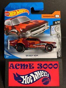 2020 Hot Wheels - Red 68 CHEVY NOVA 73/250 Rod Squad 6/10 SHORT CARD U26EP
