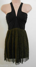Oh My Love Black Gold Short Party Evening Clubbing Dress-UK Size Large (12/14)