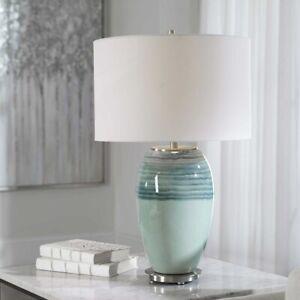 """CAICOS 26"""" MODERN AQUA & TEAL CERAMIC TABLE LAMP UTTERMOST 28437"""