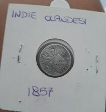Rara e piccola moneta argento Indie Olandesi del 1857