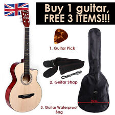 """Walnut Acoustic Classic Guitar 3/4 Size 38"""" with 3 FREE items Strap Picks Bag UK"""