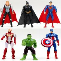 6 Superhero Avenger Iron Man Hulk Captain America Superman Batman Action Figures