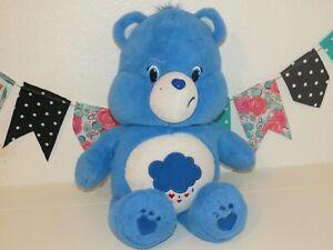 """Care Bear Blue Grumpy Sad Plush Fluffy Bigger Cloud Tummy Stuffed Doll 20"""" Toy"""
