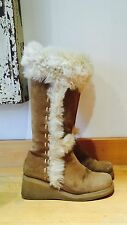 Fab Suede Yeti Boots From Spain  Boho Vintage 90s Wedge 6