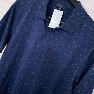 Vince Neps Slim Fit Polo S/S Shirt Cotton Blend Men's Size S Navy Blue Fleck