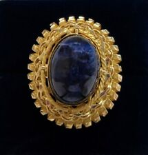 Fine Vintage c.1970's Large Agate/Rhodochrosite Ring Yellow Gold - Size P 1/2