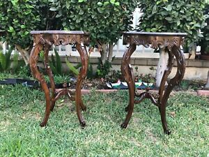 Pair Of Vintage Walnut Carved French Burl Walnut Side Table