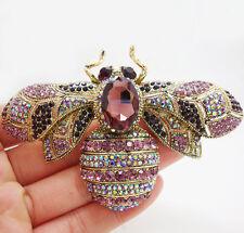 Charming Retro Bee Insect Gold-tone Brooch Pin Purple Crystal Rhinestone