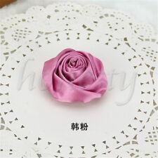 2pcs DIY Satin Ribbon Rose Flower Wedding Bouquet Appliques 9 Color 5.5cm Sky Blue