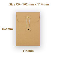 C6 Manilla String & Washer With Gusset Bottom & Tie Envelopes Free P&P